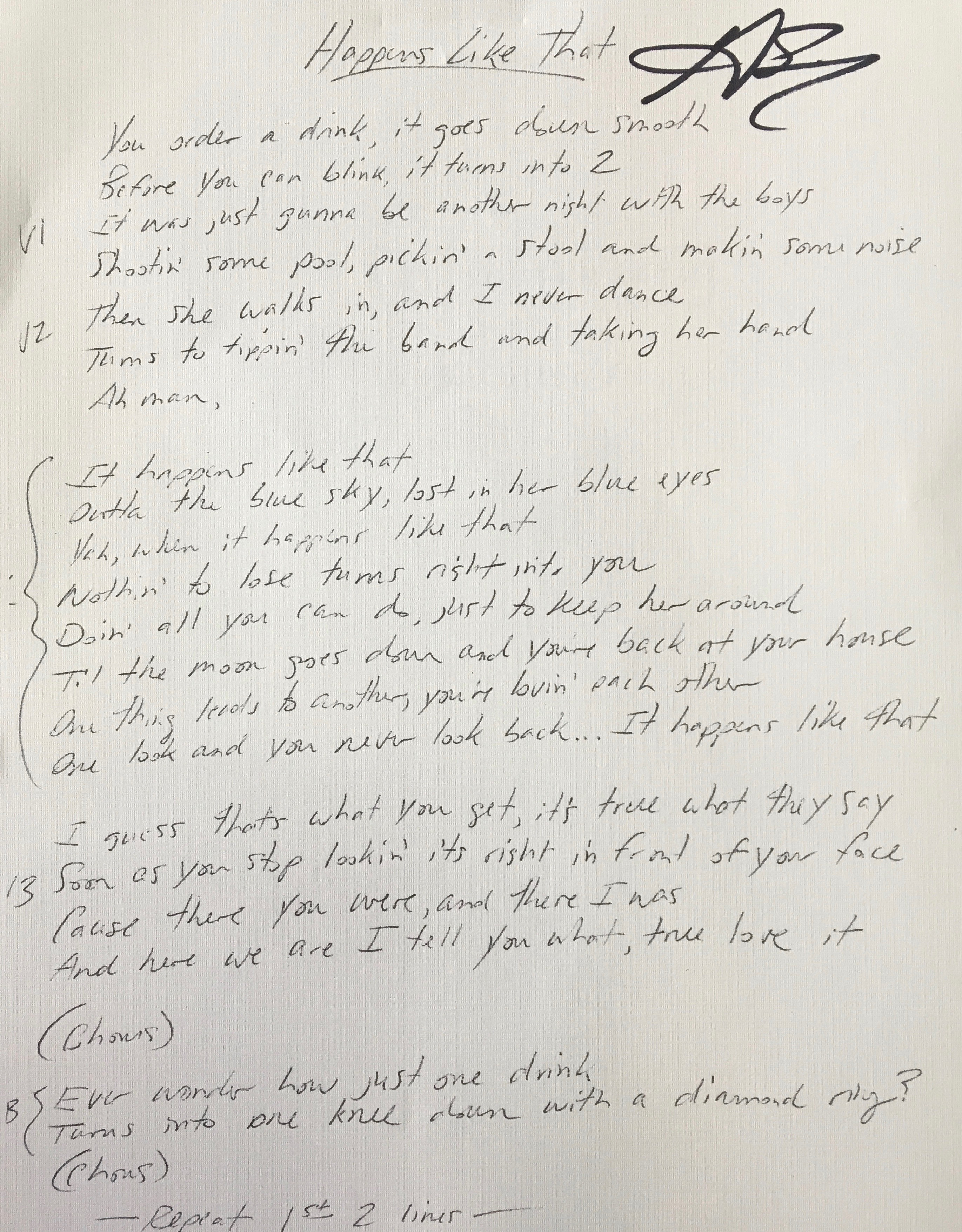 """Happens Like That"" Lyric Sheet (signed)"